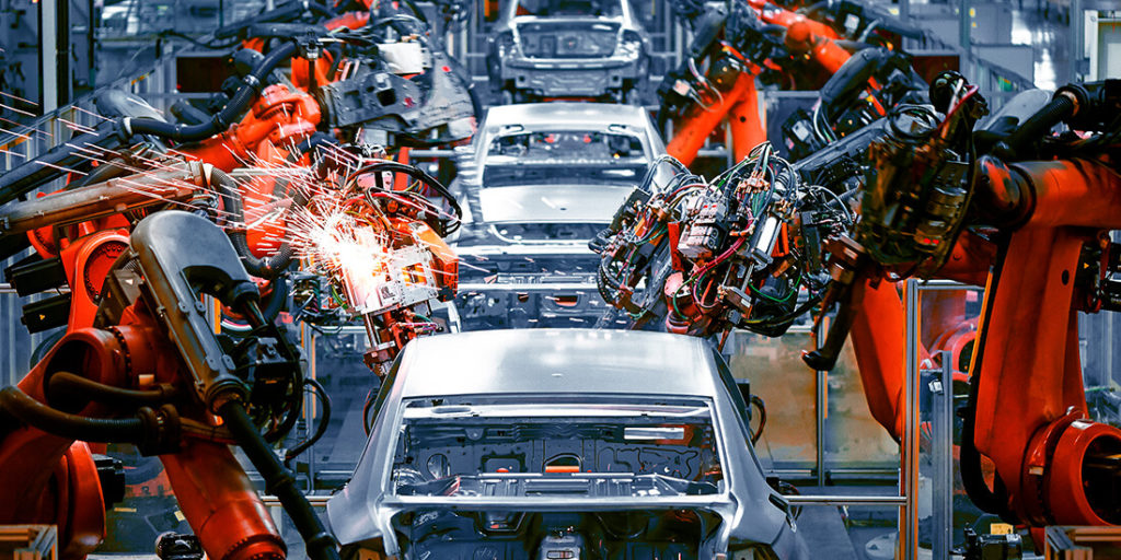 Industrial Robots in Assembling Vehicles as part of the increase of productivity using Artificial Intelligence